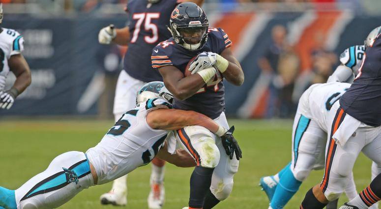 Oct 22, 2017; Chicago, IL, USA; Chicago Bears running back Jordan Howard (24) is tackled by Carolina Panthers linebacker David Mayo (55) during the second half at Soldier Field.