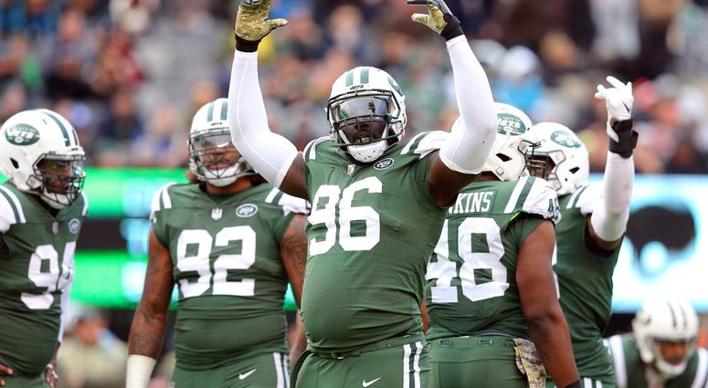 Nov 26, 2017; East Rutherford, NJ, USA; New York Jets lineman Muhammad Wilkerson (96) reacts during the second quarter against the Carolina Panthers at MetLife Stadium.