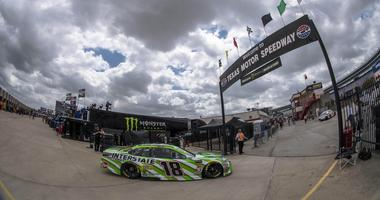 Apr 6, 2018; Ft. Worth, TX, USA; Monster Energy NASCAR Cup Series driver Kyle Busch (18) is seen during practice for the O'Reilly Auto Parts 500 at Texas Motor Speedway