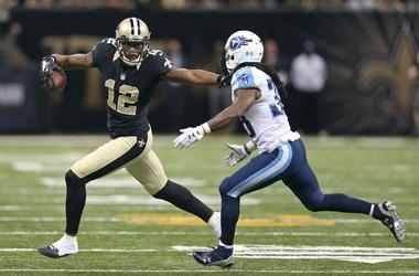 Nov 8, 2015; New Orleans, LA, USA; New Orleans Saints wide receiver Marques Colston (12) fights off Tennessee Titans defensive back B.W. Webb (38) in the second half of their game at the Mercedes-Benz Superdome.