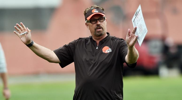 May 24, 2017; Berea, OH, USA; Cleveland Browns defensive coordinator Gregg Williams talks to the defense during organized team activities at the Cleveland Browns training facility.