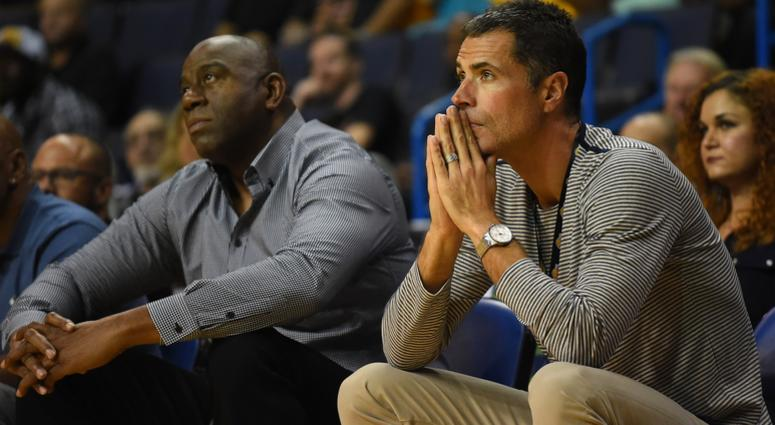 Oct 4, 2017; Ontario, CA, USA; Los Angeles Lakers general manager Rob Pelinka watches the game against the Denver Nuggets with team president Magic Johnson at Citizens Business Bank Arena.