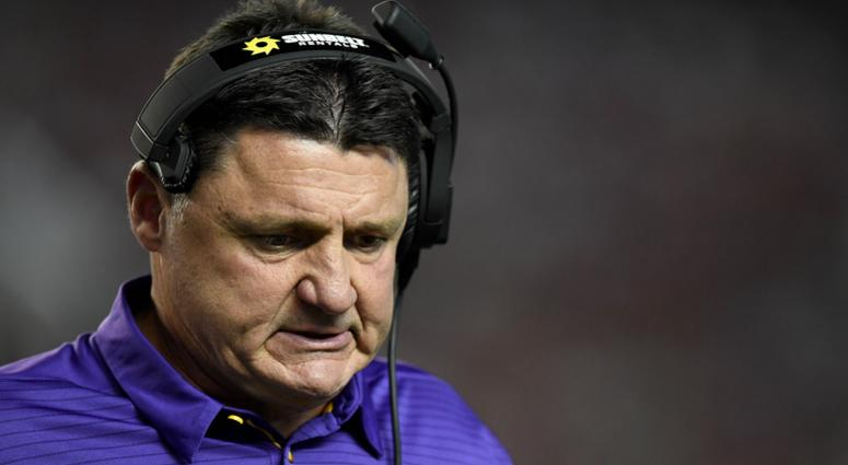 Nov 4, 2017; Tuscaloosa, AL, USA; LSU Tigers head coach Ed Orgeron walks back to the sidelines after a time out against the Alabama Crimson Tide during the first quarter at Bryant-Denny Stadium