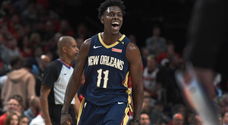 Apr 17, 2018; Portland, OR, USA; New Orleans Pelicans guard Jrue Holiday (11) reacts after scoring late during the fourth quarter in game two of the first round of the 2018 NBA Playoffs against the Portland Trail Blazers at the Moda Center. The Pelicans w