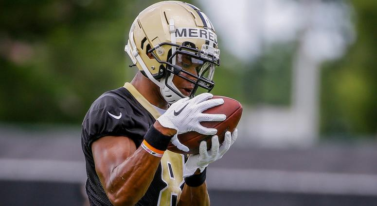 Jun 12, 2018; Metairie, LA, USA; New Orleans Saints wide receiver Cameron Meredith (81) participates in drills during minicamp at the Ochsner Sports Performance Center.