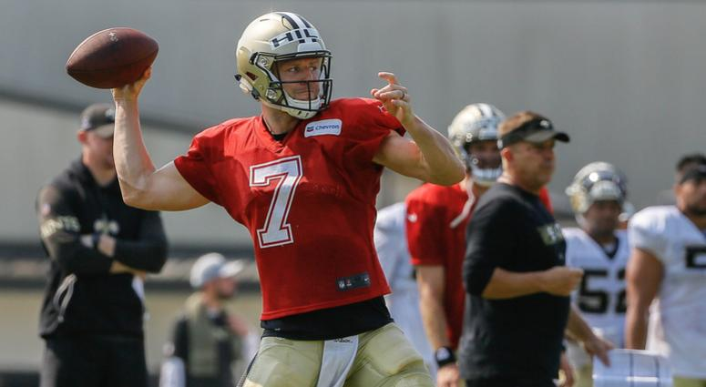 Jul 28, 2018; Metairie, LA, USA; New Orleans Saints quarterback Taysom Hill (7) during training camp at New Orleans Saints Training Facility.