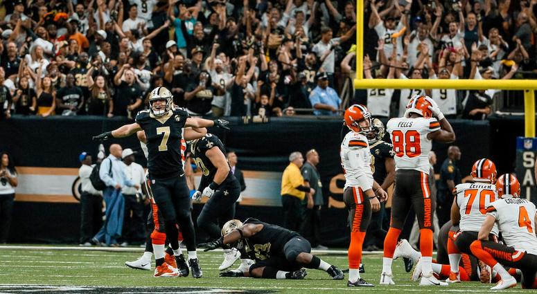 Sep 16, 2018; New Orleans, LA, USA; New Orleans Saints specialist Taysom Hill (7) reacts as Cleveland Browns place kicker Zane Gonzalez (2) misses a game tying field goal during the fourth quarter at the Mercedes-Benz Superdome. The Saints defeated the Br