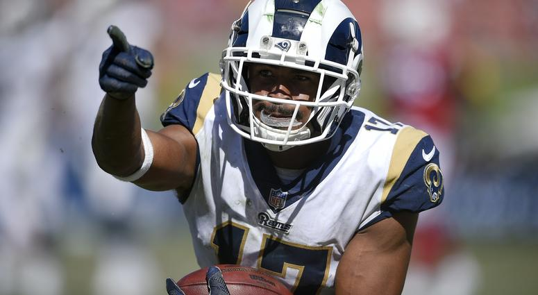 Sep 16, 2018; Los Angeles, CA, USA; Los Angeles Rams wide receiver Robert Woods (17) reacts after a catch during the second half against the Arizona Cardinals at Los Angeles Memorial Coliseum.