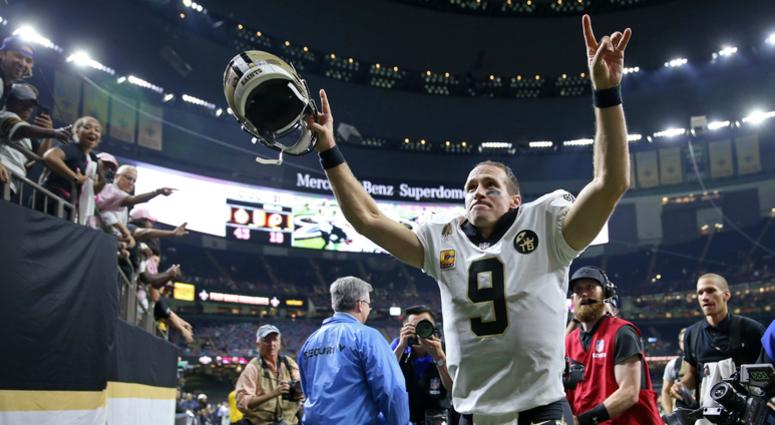 Oct 8, 2018; New Orleans, LA, USA; New Orleans Saints quarterback Drew Brees (9) runs off the field after a game against the Washington Redskins at the Mercedes-Benz Superdome.