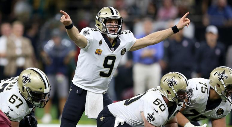 Oct 8, 2018; New Orleans, LA, USA; New Orleans Saints quarterback Drew Brees (9) gestures against the Washington Redskins in the second half at the Mercedes-Benz Superdome. The Saints won 43-19.