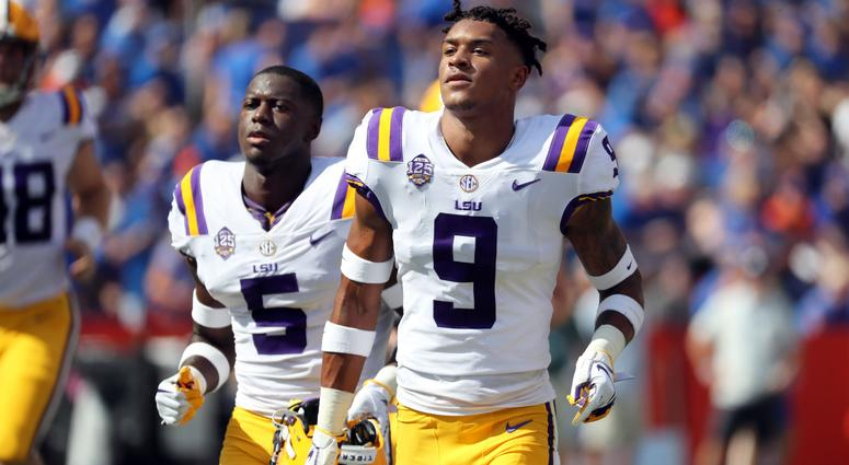 Oct 6, 2018; Gainesville, FL, USA;LSU Tigers safety Grant Delpit (9) and cornerback Kary Vincent Jr. (5) prior to the game at Ben Hill Griffin Stadium.