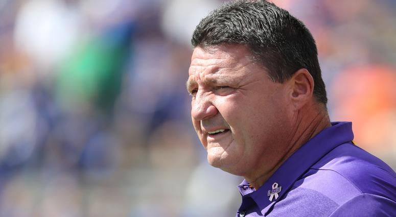 Oct 6, 2018; Gainesville, FL, USA; LSU Tigers head coach Ed Orgeron prior to the game at Ben Hill Griffin Stadium.