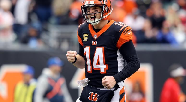 Oct 28, 2018; Cincinnati, OH, USA; Cincinnati Bengals quarterback Andy Dalton (14) reacts to the touchdown by running back Joe Mixon (28) against the Tampa Bay Buccaneers in the first half at Paul Brown Stadium.