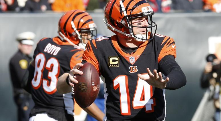 Oct 28, 2018; Cincinnati, OH, USA; Cincinnati Bengals quarterback Andy Dalton (14) looks to throw against the Tampa Bay Buccaneers during the second half at Paul Brown Stadium.