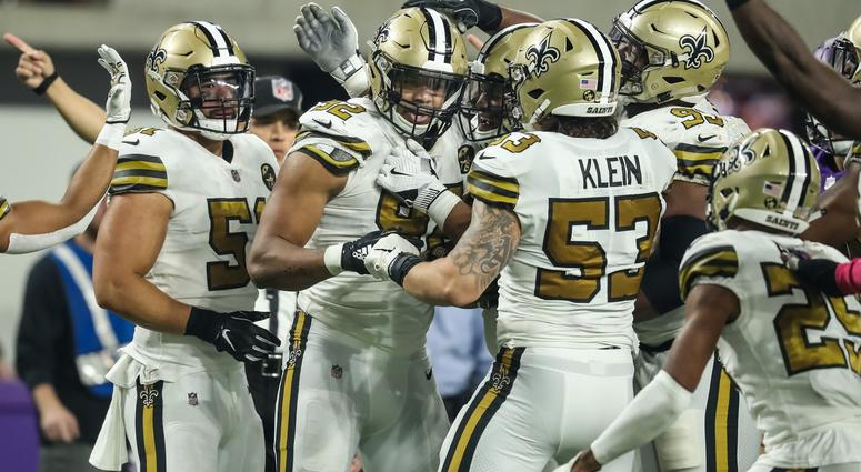 Oct 28, 2018; Minneapolis, MN, USA; New Orleans Saints defensive end Marcus Davenport (92) celebrates his sack with teammates during the third quarter against the Minnesota Vikings at U.S. Bank Stadium