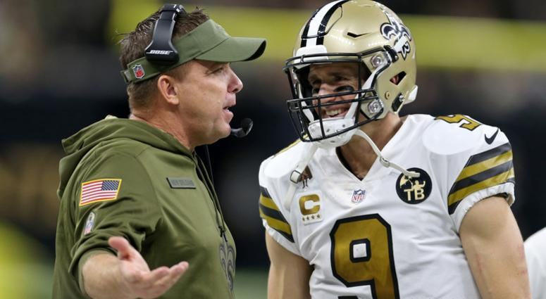 Nov 18, 2018; New Orleans, LA, USA; New Orleans Saints head coach Sean Payton and quarterback Drew Brees (9) on the sidelines in the fourth quarter against the Philadelphia Eagles at the Mercedes-Benz Superdome