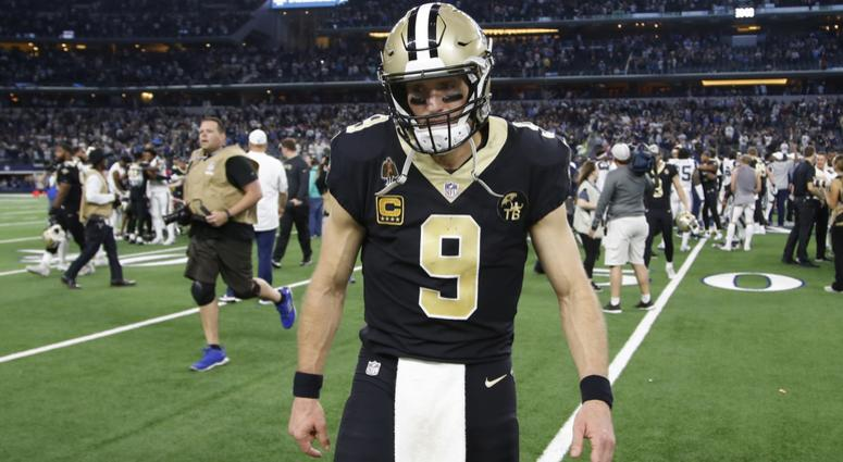 Nov 29, 2018; Arlington, TX, USA; New Orleans Saints quarterback Drew Brees (9) leaves the field after a game against the Dallas Cowboys at AT&T Stadium.