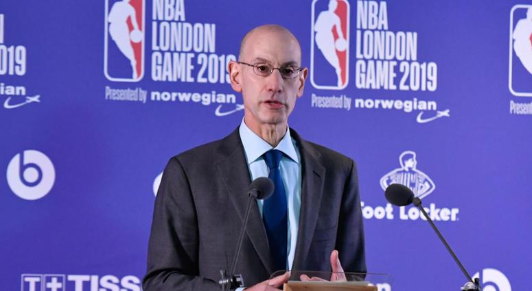 Jan 17, 2019; London, ENG; NBA commissioner Adam Silver gives a pre game press conference before the game between the New York Knicks and Washington Wizards at The O2 Arena
