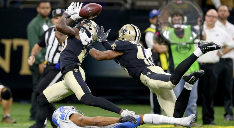 Oct 15, 2017; New Orleans, LA, USA; New Orleans Saints cornerback Ken Crawley (20) and free safety Marcus Williams (43) fight for the football after defending a pass intended for Detroit Lions wide receiver Marvin Jones (11) in the second half at the Merc