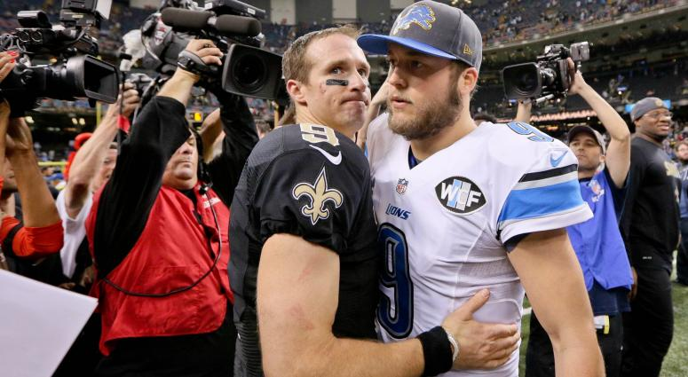 Dec 21, 2015; New Orleans, LA, USA; New Orleans Saints quarterback Drew Brees (9) and Detroit Lions quarterback Matthew Stafford (9) meet following a game at the Mercedes-Benz Superdome. The Lions defeated the Saints 35-27.