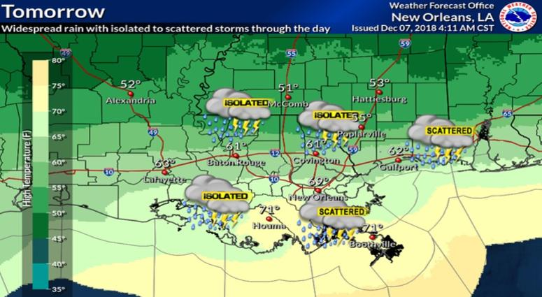 Weather Map For Louisiana.Rain Filled Saturday Leads To Cold Weather Sunday For New Orleans