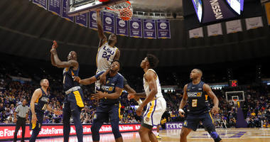 LSU holds off UNC-Greensboro 97-91 in high-paced shootout