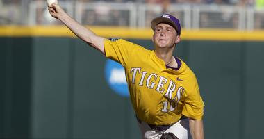 Jun 19, 2017; Omaha, NE, USA; LSU Tigers pitcher Eric Walker (10) throws the ball against the Oregon State Beavers in the first inning at TD Ameritrade Park Omaha
