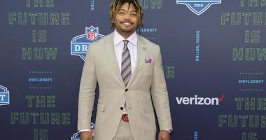 Apr 26, 2018; Arlington, TX, USA; LSU running back Derrius Guice arrives on the red carpet before the 2018 NFL Draft at AT&T Stadium.
