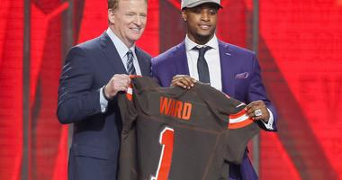 Apr 26, 2018; Arlington, TX, USA; Denzel Ward (Ohio State) is selected as the number four overall pick to the Cleveland Browns in the first round of the 2018 NFL Draft at AT&T Stadium.