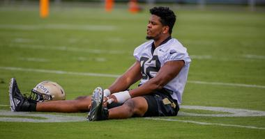 Jun 12, 2018; Metairie, LA, USA; New Orleans Saints defensive end Marcus Davenport (92) participates in drills during minicamp at the Ochsner Sports Performance Center.