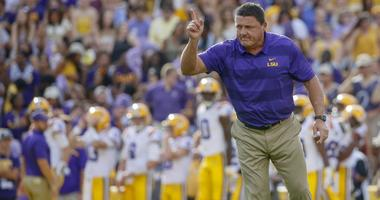 Sep 8, 2018; Baton Rouge, LA, USA; LSU Tigers head coach Ed Orgeron before a game against the Southeastern Louisiana Lions at Tiger Stadium.