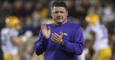 Nov 24, 2018; College Station, TX, USA; LSU Tigers head coach Ed Orgeron watches during practice before a game against the Texas A&M Aggies at Kyle Field.