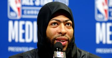Feb 16, 2019; Charlotte, NC, USA; Team Lebron forward Anthony Davis of the New Orleans Pelicans (23) speaks during the NBA All-Star Media Day at Bojangles Coliseum.