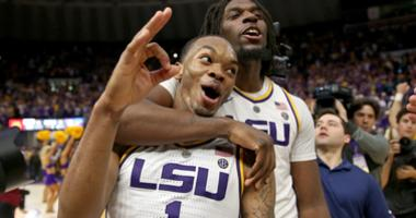 Feb 23, 2019; Baton Rouge, LA, USA; LSU Tigers guard Ja'vonte Smart (1) celebrates with forward Naz Reid (0) after their game against the Tennessee Volunteers at the Maravich Assembly Center.