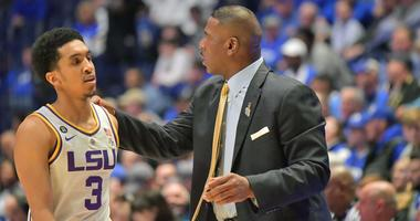 Mar 15, 2019; Nashville, TN, USA; LSU Tigers guard Tremont Waters (3) with LSU Tigers interim head coach Tony Benford during the first half of game seven in the SEC conference tournament at Bridgestone Arena