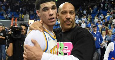 Lavar Ball embraces his son UCLA Bruins guard Lonzo Ball after the game against the Washington State Cougars at Pauley Pavilion.
