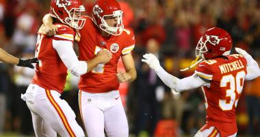Oct 2, 2017; Kansas City, MO, USA; Kansas City Chiefs kicker Harrison Butker (7) celebrates with long snapper James Winchester (41) and cornerback Terrance Mitchell (39) after kicking a field goal against the Washington Redskins in the second half at Arro