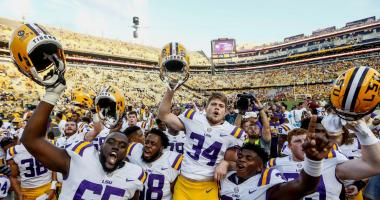 Oct 14, 2017; Baton Rouge, LA, USA; LSU Tigers place kicker Connor Culp (34) celebrates with teammates after a win against the Auburn Tigers in a game at Tiger Stadium. LSU defeated Auburn 27-23.