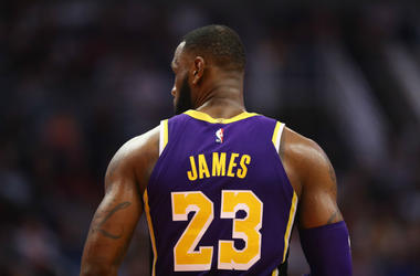 Detailed view of the jersey worn by Los Angeles Lakers forward Lebron James (23) against the Phoenix Suns at Talking Stick Resort Arena.