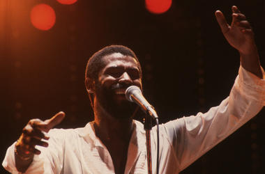 Teddy Pendergrass in concert at the Hammersmith Odeon in London in 1982