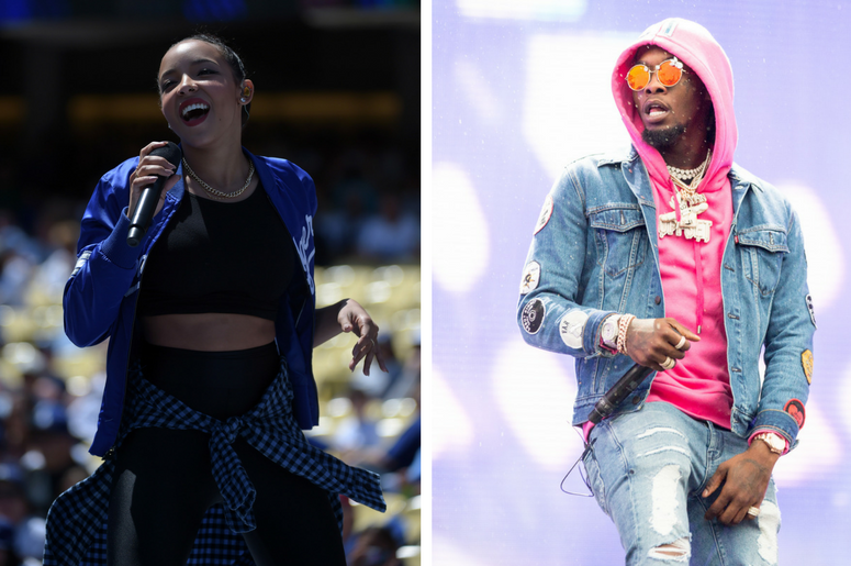 Tinashe performs before the 2015 MLB opening day game at Dodger Stadium / Offset (Kiari Kendrell Cephus) of Migos during the Budweiser Made In America Music Festival in Philadelphia, Pennsylvania