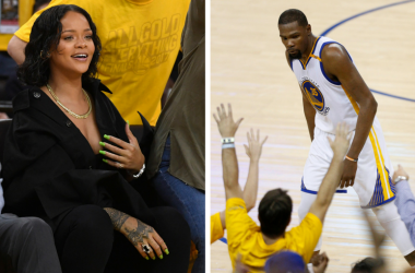 Rihanna and Kevin Durant during the 2017 NBA Finals between the Golden State Warriors and the Cleveland Cavaliers at Oracle Arena in Oakland, California.