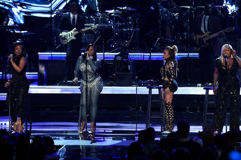 Kandi Burruss, Tamika Scott, Tameka Cottle and LaTocha Scott of Xscape perform onstage the 2017 BET Awards at the Microsoft Theater on June 25, 2017 in Los Angeles, California.