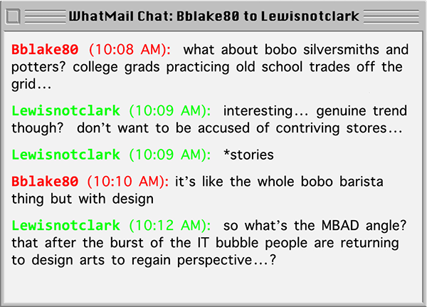 Ben, as Bblake80, chates on WhatMail with Lewisnotclark