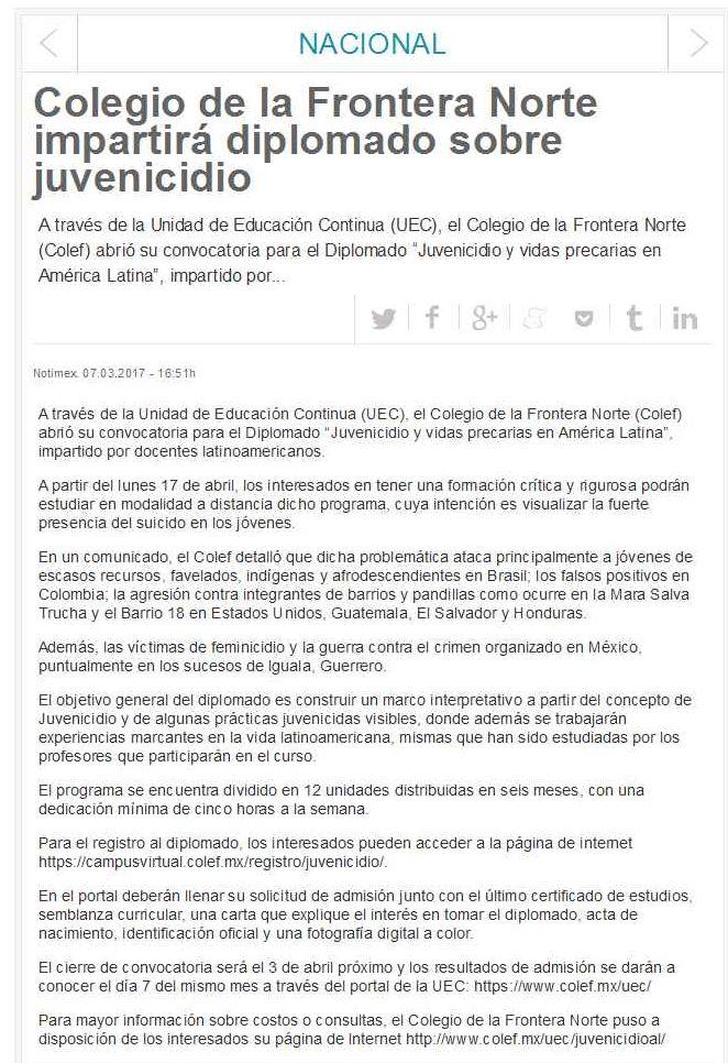 Colegio de la Frontera Norte impartirá diplomado sobre juvenicidio ...