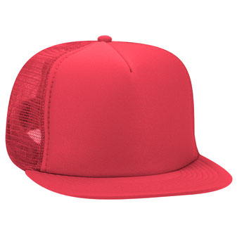 Polyester Foam Front Flat Visor High Crown Golf Style Mesh Back Caps