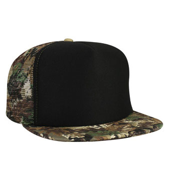 Polyester Foam Front Camouflage Flat Visor High Crown Golf Style Mesh Back Caps