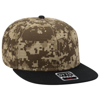 Digital Camouflage Cotton Ripstop Square Flat Visor Pro Style Snapback Caps