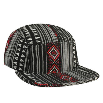 Aztec Pattern Polyester Jacquard Square Flat Visor with Binding Trim Five Panel Camper Style Cap