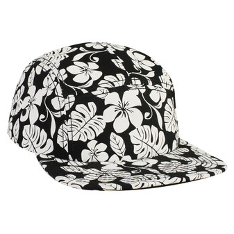 Hawaiian Pattern Superior Cotton Twill Square Flat Visor Five Panel Camper Style Cap
